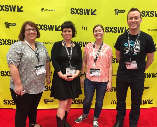 Megan Fraser, me, Norie Guthrie, and Andy Leach on a tiny patch of red carpet at SXSW2017